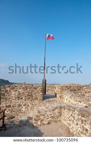 A flag on the Szigliget castle, near lake Balaton, Hungary - stock photo
