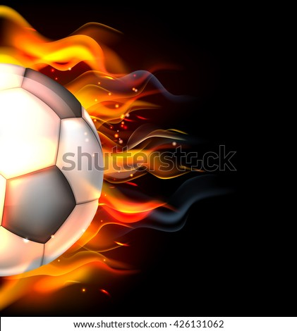 A flaming soccer football ball on fire concept - stock photo