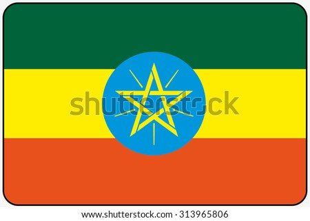 A Flat Design Flag Illustration with Rounded Corners and Black Outline of the country of Ethiopia