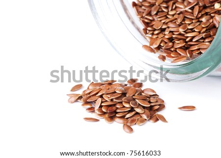 a flax seeds, isolated on white - stock photo