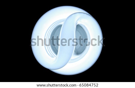 "A florescent bulb showing an ""S"" for saving energy of and money"