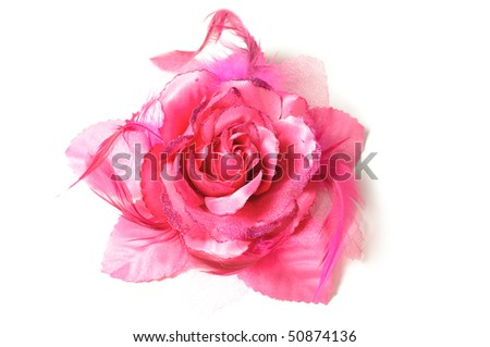 A flower hair clip for women on isolated white background. - stock photo