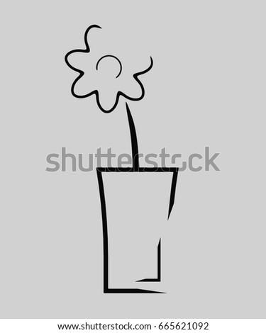 Flower Vase Contour Image Black Color Stock Illustration 665621092