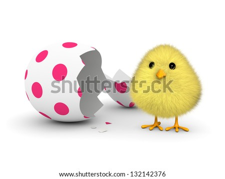 A fluffy yellow chick coming out of an easter egg shell (3D render) - stock photo