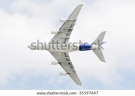 A380 flying above - stock photo