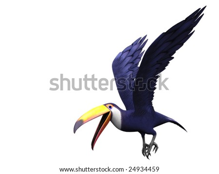 A flying toucan bird isolated on white.