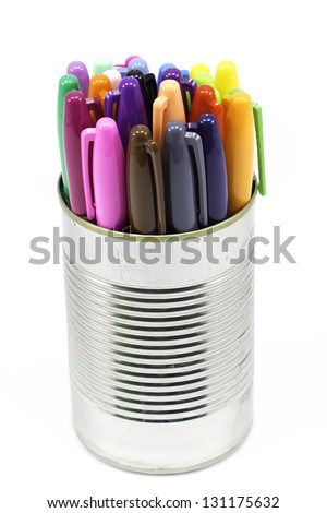 A focus-stacked can of an arrangement of colored pens/markers - stock photo