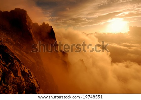 A foggy sunset - stock photo