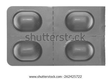 A foil blister package for medicine in perforated individual doses - stock photo