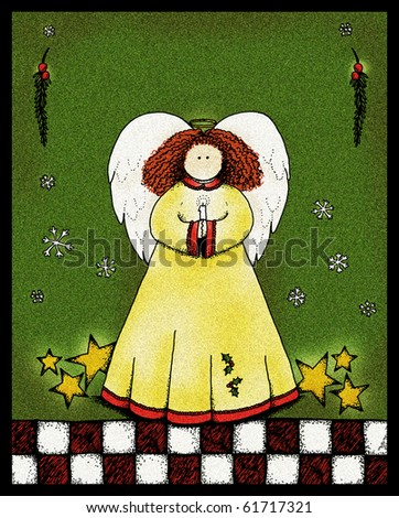 A folk art style illustration of an angel holding a candle, with copy space above for your text. - stock photo