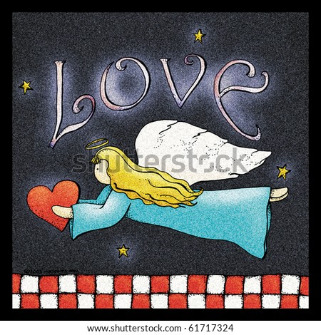 A folk art style illustration of an angel holding a heart