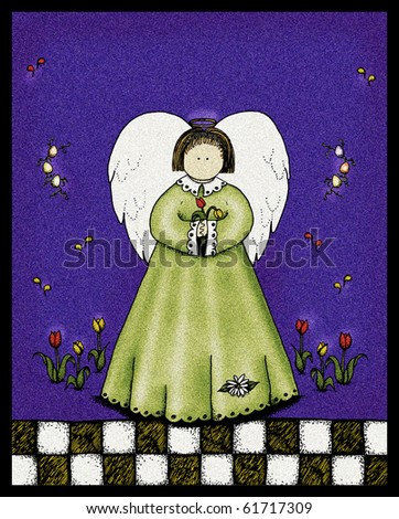 A folk art style illustration of an angel holding tulips, with copy space above for your text. - stock photo