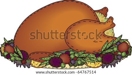 a folk art styled platter of roast turkey with stuffing and trimmings
