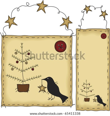 A folk art styled set of tags. The background banners and crows, buttons and trees are grouped individually.  File contains simple 10-step blends and linear gradients.