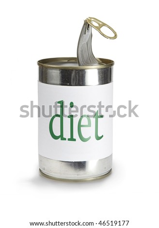a food can with a diet label isolated on white - stock photo