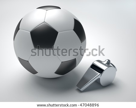A football and a whistle - 3d render illustration - stock photo