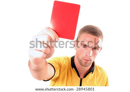 a football judge with red card