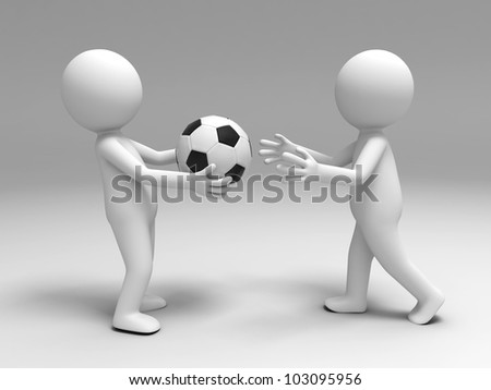 a football to the other/A 3d people brought a football to the other - stock photo