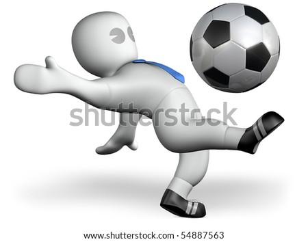 a footballer shoots a ball - stock photo