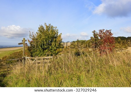 a footpath signpost with a view of the vale of york england under a blue cloudy sky in the yorkshire wolds in autumn - stock photo