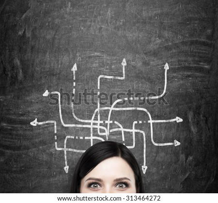 A forehead of the brunette woman who is pondering about possible solutions of the complicated problem. Many arrows with different directions are drawn around her head. Black chalkboard background. - stock photo