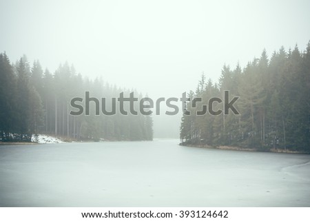 A Forest lake with fog in winter - stock photo