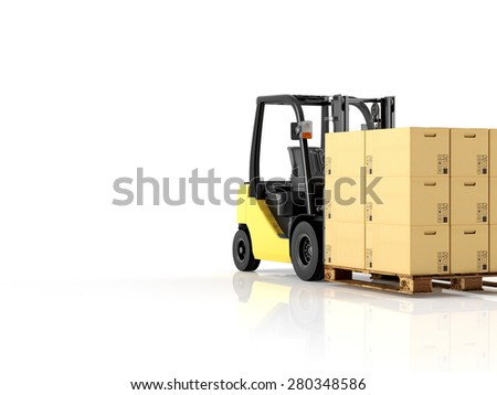 a forklift with a pallet boxes. isolated.3d rendering - stock photo