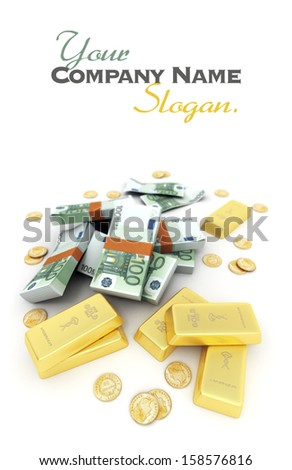 A fortune in euro notes, ingots and gold coins - stock photo