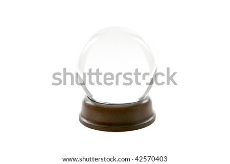 a fortune teller crystal ball, isolated on white - stock photo