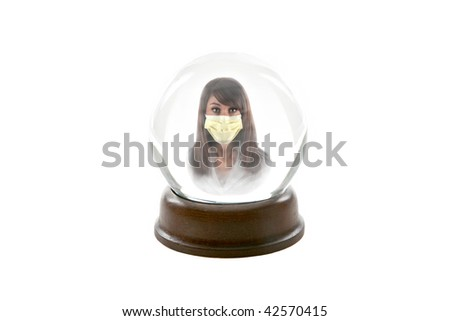 """a fortune teller crystal ball, shows a ghostly image of a beautiful young woman wearing a paper mask to protect herself from the """"Mexican Swine Flu, aka """"H1N1 Virus"""", isolated on white - stock photo"""