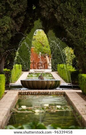 Fountain generalife gardens alhambra palace granada stock for Generalife gardens