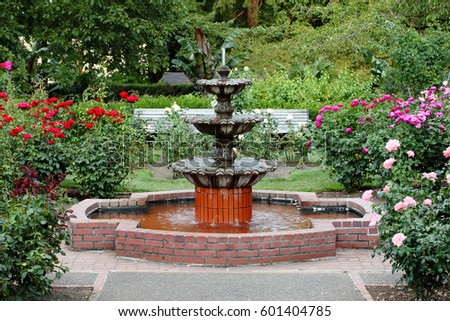 Fountain International Rose Test Garden Portland Stock Photo (100 ...