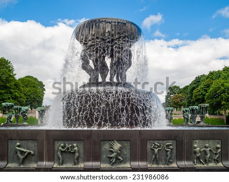 A fountain in The Vigeland Park, Oslo - stock photo
