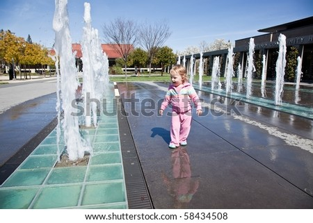 A fountain is a piece of architecture which pours water into a basin or jets it into the air either to supply drinking water or for decorative or dramatic effect. - stock photo