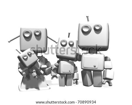 A four white plastic robots family, with mother, father, young son and a baby; 3D computer generated on white background - stock photo