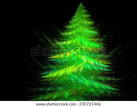 A fractal abstract of a Christmas tree on black - stock photo