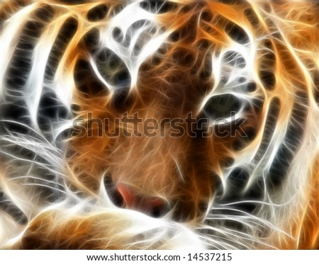 A fractal - vector render of a Siberian tiger with gorgeous stripes - stock photo