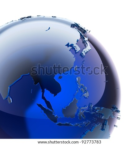 A fragment of blue glass globe with stylized faceted continents of frosted glass, a little stand out from the ocean surface - stock photo