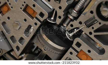 A fragment of the engine. 3d abstact background - stock photo