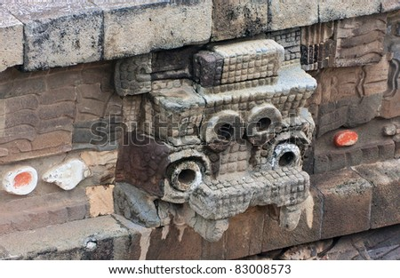 A fragment of the ruins of Teotihuacan, Mexico - stock photo