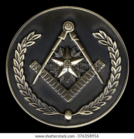 a freemasonry brass medal  square & compass