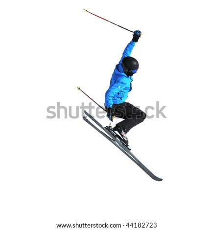 a freestyle skier performing a high jump isolated on white - stock photo