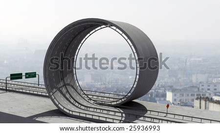A freeway with a loop - stock photo