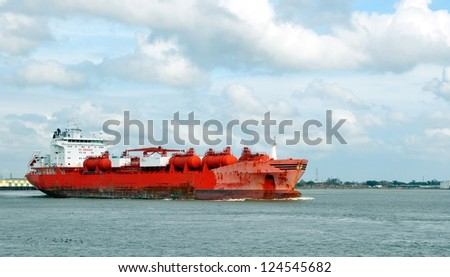 A Freighter Ship On The Mississippi River At New Orleans - stock photo