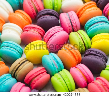 A french sweet delicacy, macaroons variety closeup.macaroon colourful texture.,vintage tone colour - stock photo