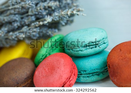 A french sweet delicacy, Macaroons variety with lavender closeup.