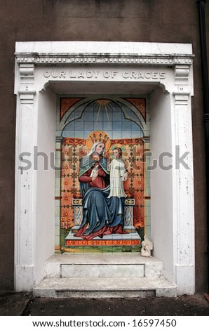 a fresco in ireland of our lady of graces - stock photo