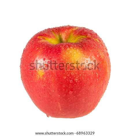 A fresh and wet Honeycrisp apple isolated on a white background. - stock photo