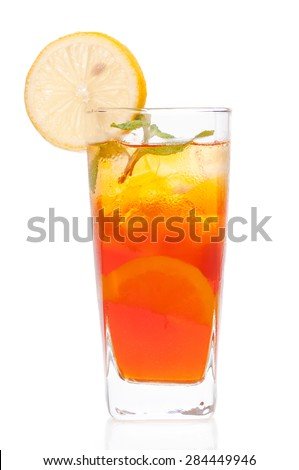 A fresh cool ice lemon tea drink over white background
