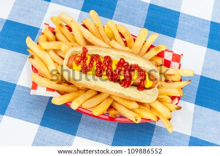 A fresh hotdog surrounded by piping hot french fries in a red serving basket on a checkered tablecloth. - stock photo